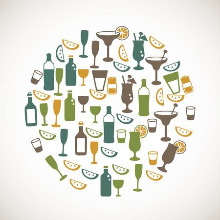 whisky bottle: Colorful drinks icons Illustration