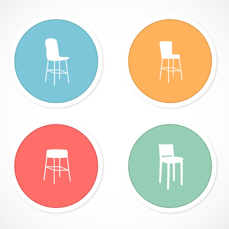 vintage chair: Retro stickers with icons
