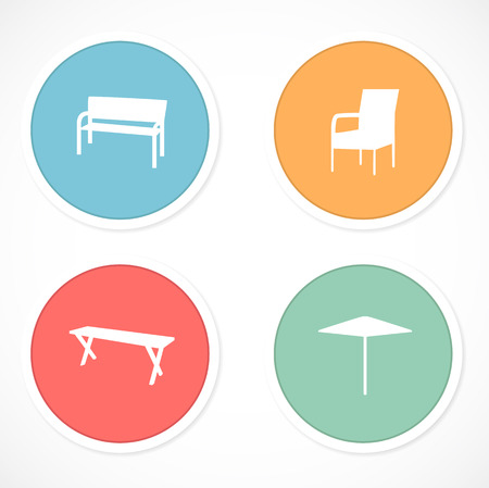 patio set: Retro stickers with icons