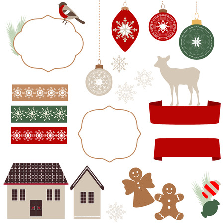 Christmas icons and illustrations Vector