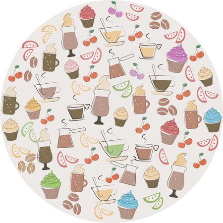 甘い食べ物: コーヒーと甘い食べ物アイコン  イラスト・ベクター素材