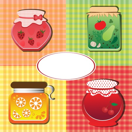 semimanufactures: four banks with strawberry, orange and cherry jam and canned vegetables Illustration