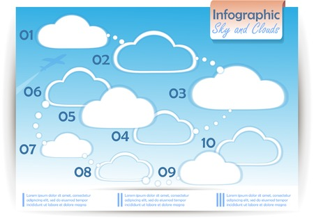 cerulean: infographics sky and clouds on the blue background