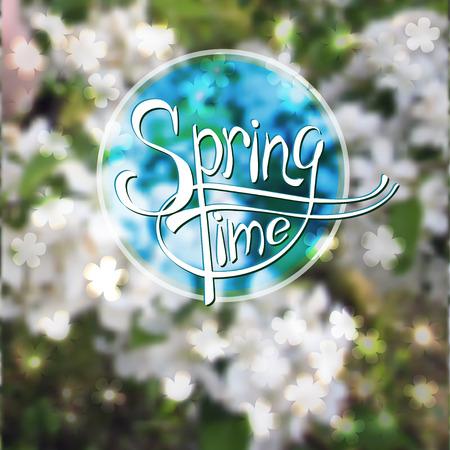 springtime: Springtime blurred vector background with apple tree