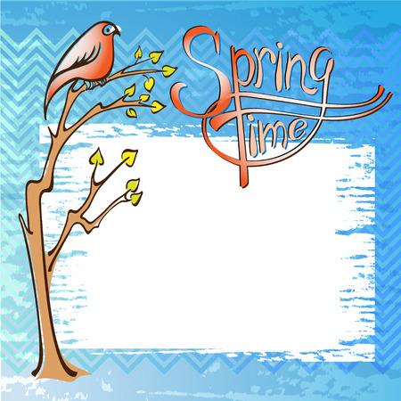 springtime: Springtime card with a bird on a branch Illustration