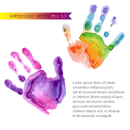 watercolor prints of two hands vector Vettoriali