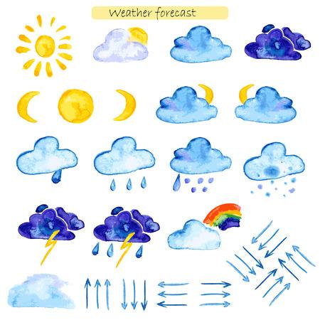 estado del tiempo: iconos acuarela pronóstico del tiempo sobre un fondo blanco