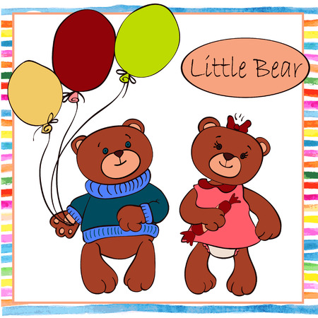 Two little boy and girl bear toy Vector