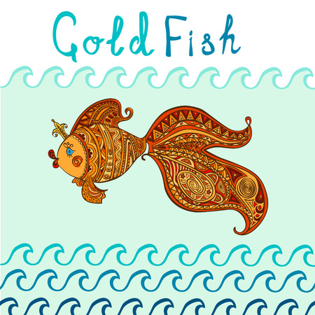 Goldfish and patterned tail floating in the waves Vector