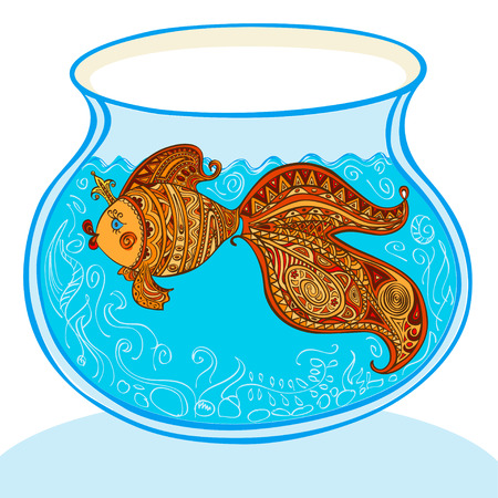Goldfish and patterned tail floats in the aquarium Vector