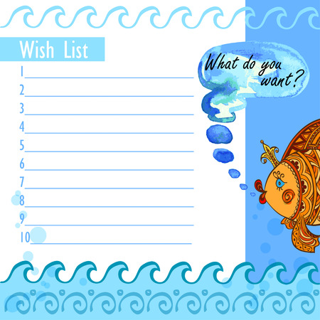Wish list goldfish and waves Vector