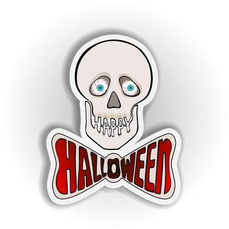 eye sockets: Halloween sticker with skull on a white background