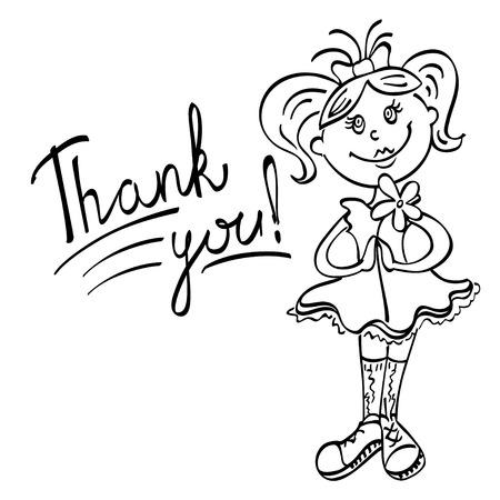 te negro: dibujo muchacha con la flor dice gracias l�neas negras sobre un fondo blanco Vectores