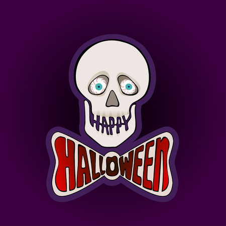 eye sockets: Halloween sticker with skull on a purple background