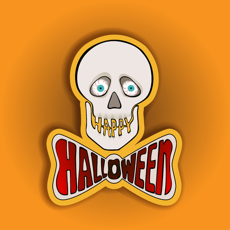 fond jaune: Halloween sticker with skull on a yellow background