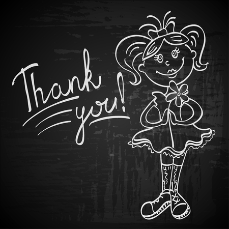 white lines: contour drawing girl with flower says thank you white lines on a black textural background Vettoriali