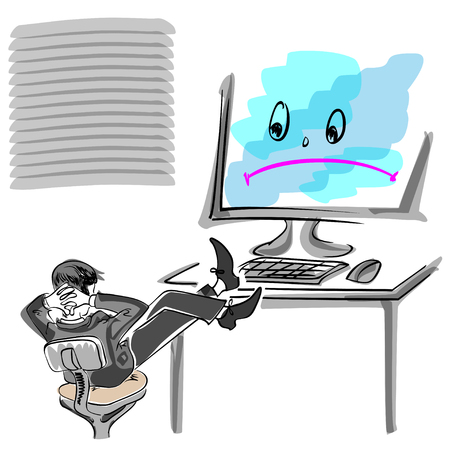 office computer: office worker sitting at broken computer