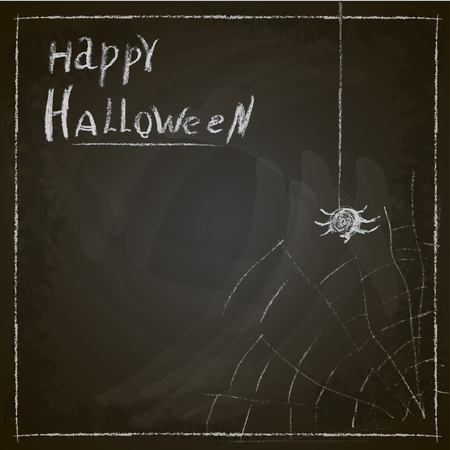 spider web: Happy Halloween spider web painted on chalk on a blackboard