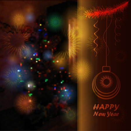 twinkling: Christmas tree blurred background with twinkling stars vector illustration Illustration