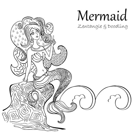 undine: Mermaid black and white patterns isolated on white background. Hand drawn, for adult anti stress Coloring Page with high details, illustration in zentangle style. Vector monochrome sketch.