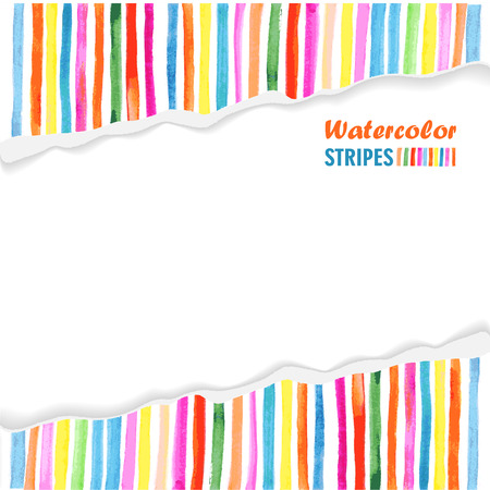 postcard template: postcard template with bright colored stripes painted on torn paper