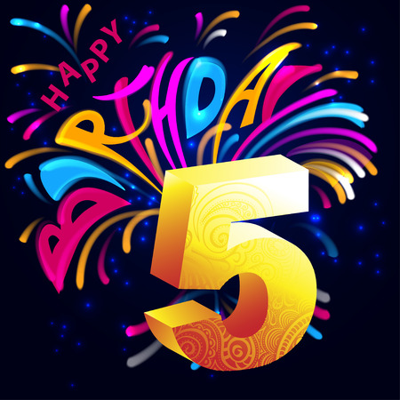 five stars: Lettering happy birthday with fireworks, stars and golden number five volume on a dark background