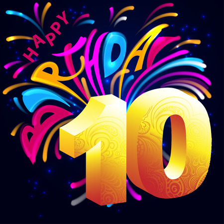 Lettering happy birthday with fireworks, stars and golden number 10 volume on a dark background