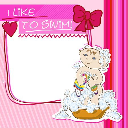 little girl bath: Postcard with a pink background, a small child bathes Illustration
