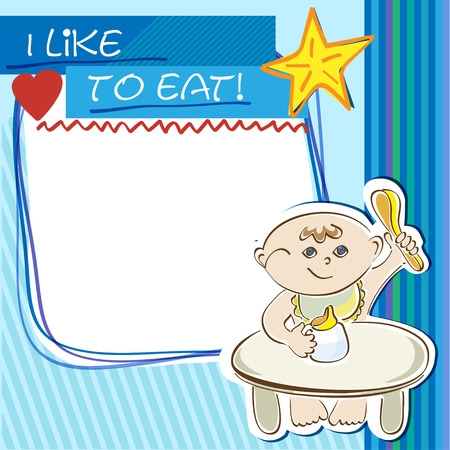 appetite: Postcard with a blue background, a small child eats at the table