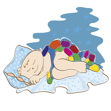 under the bed: Cute little baby is sleeping on a bed under a blanket of color Illustration