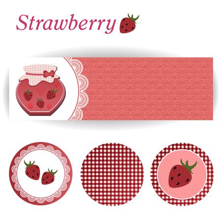strawberry jam: set of rectangular and three round stickers for strawberry jam