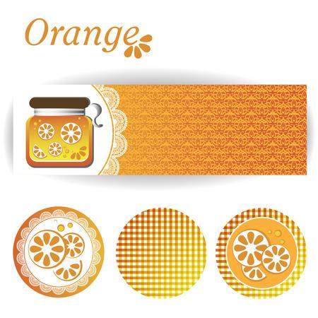zest: set of rectangular and three round stickers for orange jam