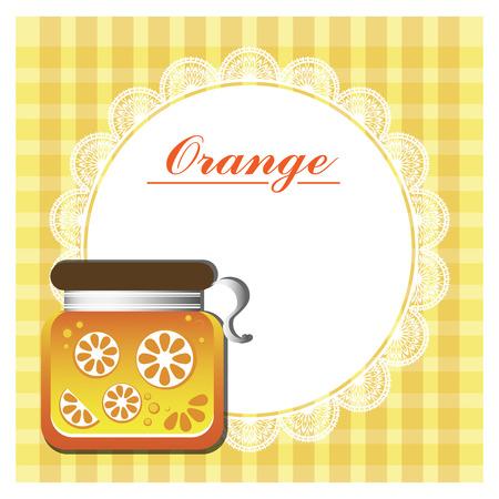 zest: label for orange jam with white napkin