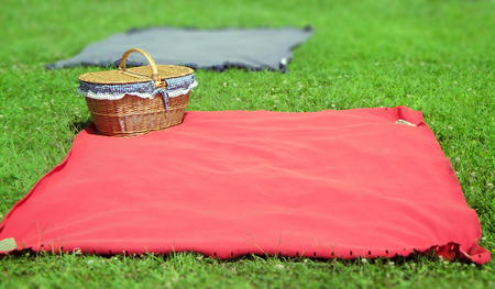 summer picnic wicker basket and tablecloth on grass                               Stock Photo