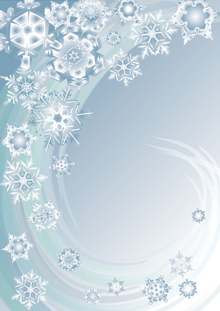 vector background illusrtation with snowflakes and swirl lines Illustration