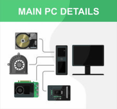 Main PC computer details in vector illustration concept. Motherboard, cooler, CPU processor, hard dick, display and system unit. Illustration