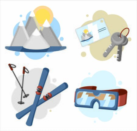 Ski resort icons set. Equipment for skiing or winter travel on holidays or weekend. Snow, sky, ski and relax. Vector illustration