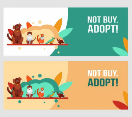 horizontal banners template. International homeless animals day. Cute cat and dog in a box with I Need Home text. Vector illustration for web design. Pets adoption concept. Adopt not buy.