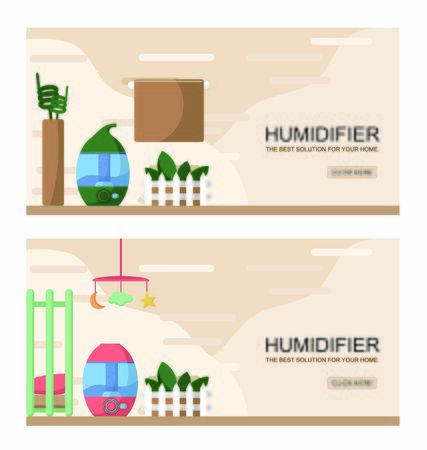 Vector illustration of a portable humidifier device on a table with house plants moisturing air in a room during hot days and low humidity in a flat in winter. Creative banner, flyer or add.