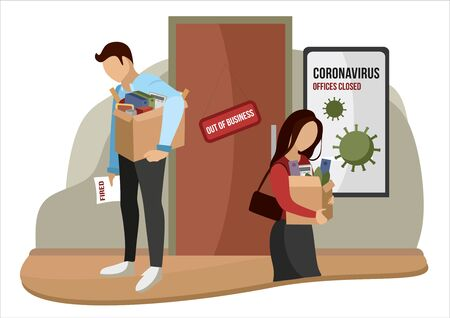 Fired and dismissed people from job. Dismissal, severance, termination in case of coronavirus or virus COVID-19. Unemployed jobless benefit. Boss dismissed employee. Cartoon vector illustration.