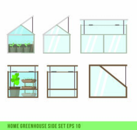 Home mini greenhouse for house and balcon. Side set of two types of glass green house.Flat vector illustration. Gardening and plant. Garden and seeds. Take care of green friends