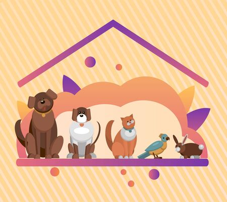 Pet hotel and pet house for pets and animals. Adopt center. Dog,little dog,cat,parrot and rabbit. Happy and colourful vector illustration isolated on white concept. Иллюстрация