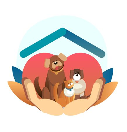 Cartoon web template. International homeless animals day. Cute cat and dog in a box with I Need Home text. Vector illustration for web design. Pets adoption concept. Not buy. Adopt center volunteer