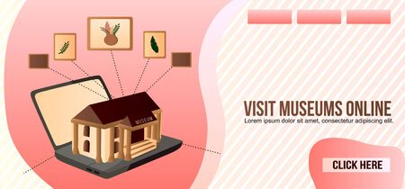 Art Museum Mobile Guide, Smartphone Application for Tourists Web Banner, Lading Page Template. Drawings on Museum Hall Wall, Information About Showpiece on Cellphone Screen Flat Vector Illustration