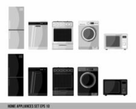 Kitchen and house appliances: microwave, washing machine, refrigerator, gas stove, dishwasher, tv. home appliances, household appliances, household equipment, domestic appliances, home electronics Ilustração
