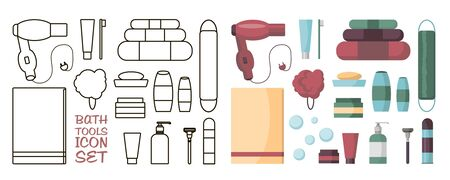 Set of Bath Accessories and Products for Beauty in flat cartoon style. Bath upplies and tools. Cleaning and skin care. Soap, shampoo, towel, hairdryer, shaving, toothpaste clean. 写真素材 - 147516568