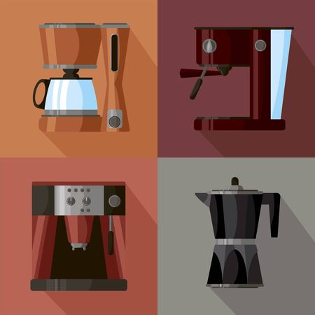 Coffee makers icon set in minimalistic style. Flat coffee icons. Vector illustration EPS 10. Coffee machines for home kitchen. For your design on color background.