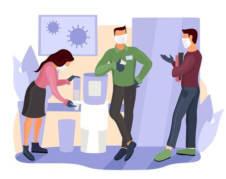 Business people wearing surgical masks and standing together, healthcare and prevention concept. Office workers in masks and gloves. Coronavirus quarantine covid-19. Self isolation in offices.