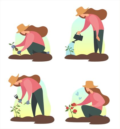 Woman seed a plant in ground. .People summer gardening - set of vector flat cartoon illustrations of people doing garden job - watering, planting, growing and trantransplant sprouts, crop harvest seed