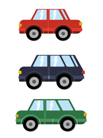 Stylish car icon set. Modern flat design style. Vector illustration. Car set for your design and web template. Engine transport in red blue and green color.